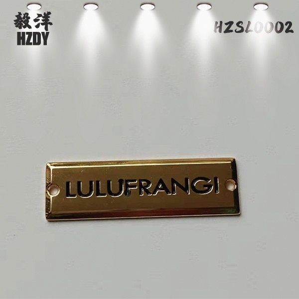 European and American custom rectangular handbags nameplate with two holes with