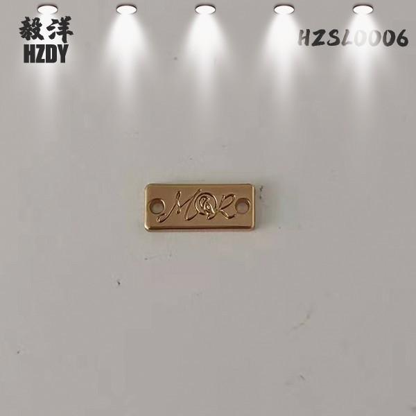 Gold Electroplating Hardware Trademark Engraved Logo On Leather Handbags