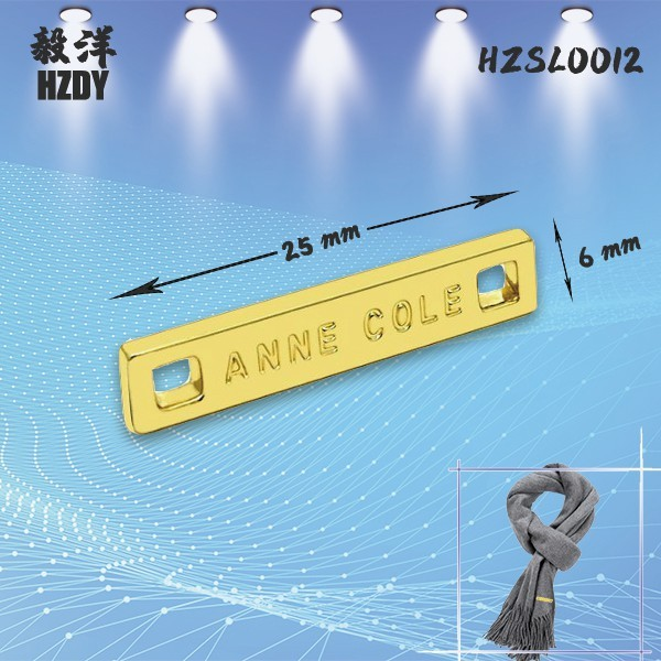 Scarf Label Two-hole Engraved LOGO Can Be Sewn Clothing Label