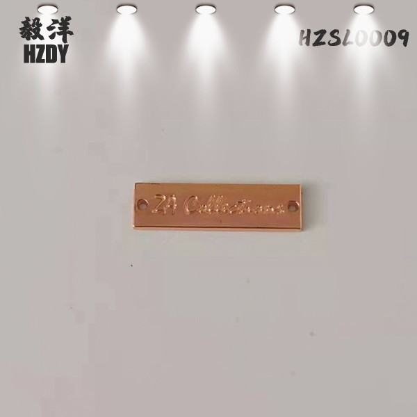 Square Plating White Nickel Metal Logo Plate For Handbag