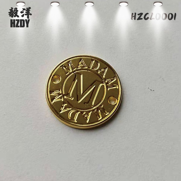 Customized 17mm Hollow Round Electroplating Light Gold Sign