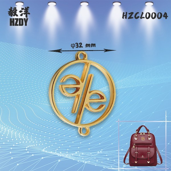 Customized 32mm Hollow Round Electroplating Light Gold Sign