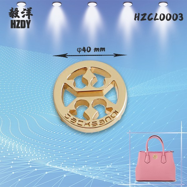 Customized 40mm Hollow Round Electroplating Light Gold Sign